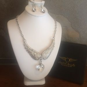 Crystal Angel wing necklace and earring gift set